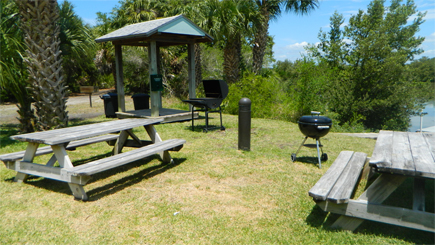 picnic area with barbeque grill